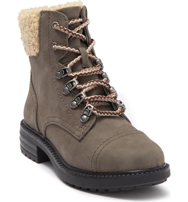 REPORT Faux Shearling Block Heel Combat Boot, Main, color, OLIVE