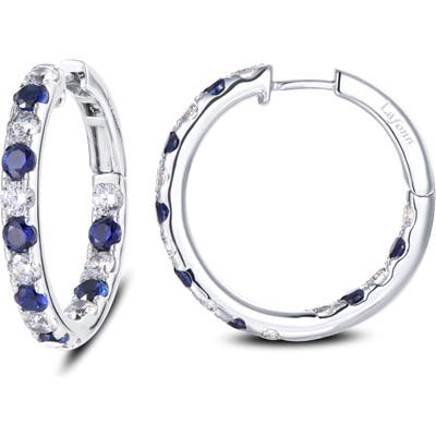 Lafonn Inside Out Simulated Diamond & Sapphire Hoop Earrings