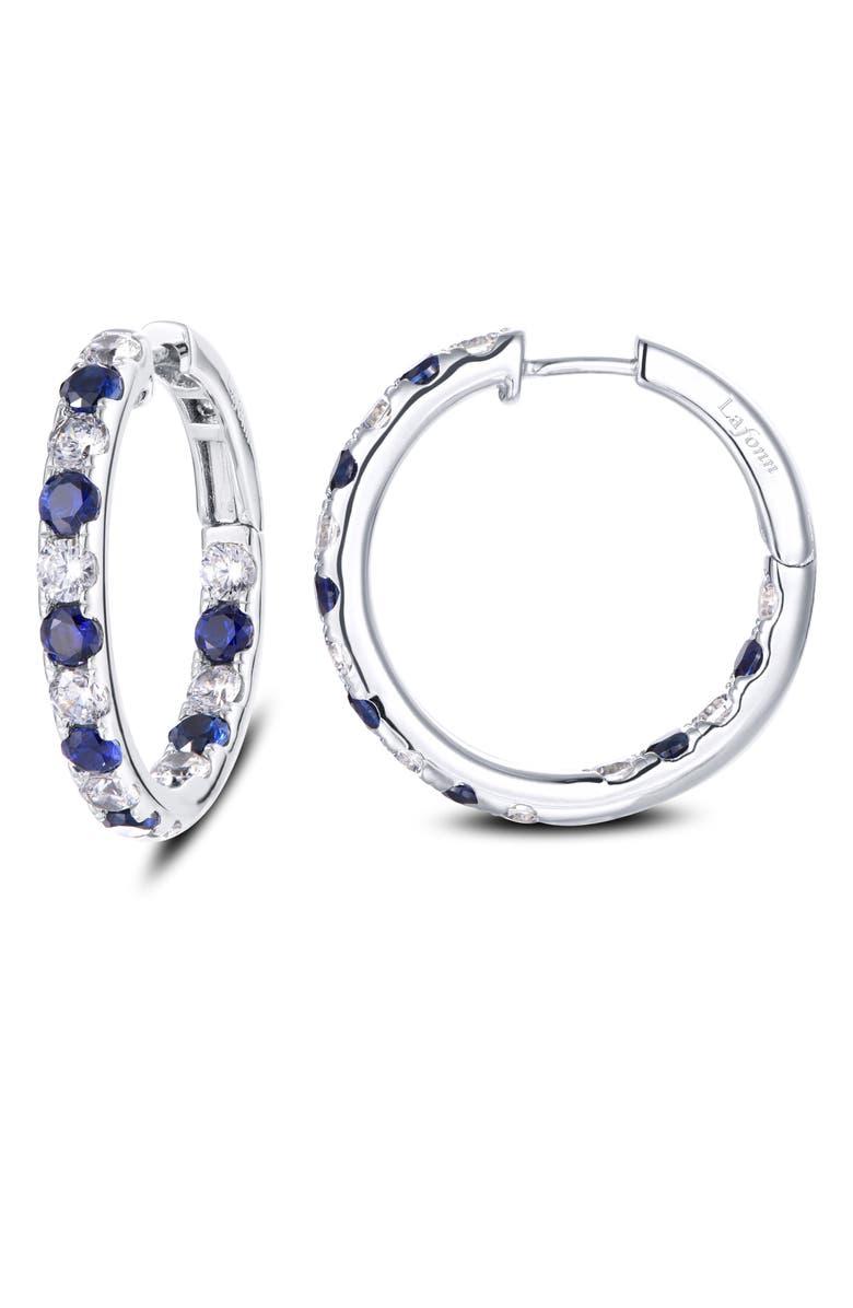 LAFONN Inside Out Simulated Diamond & Sapphire Hoop Earrings, Main, color, SILVER/ BLUE/ CLEAR