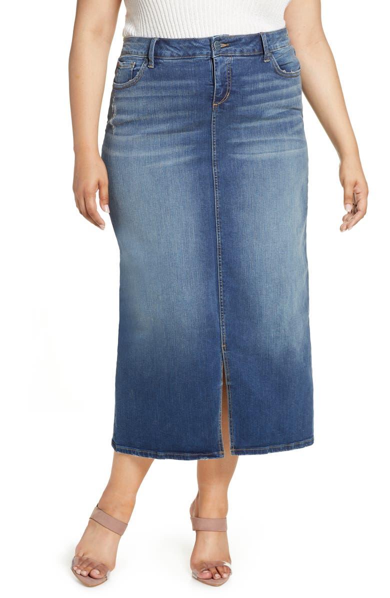 SLINK JEANS Long Denim Skirt, Main, color, RUBY - MEDIUM WASH