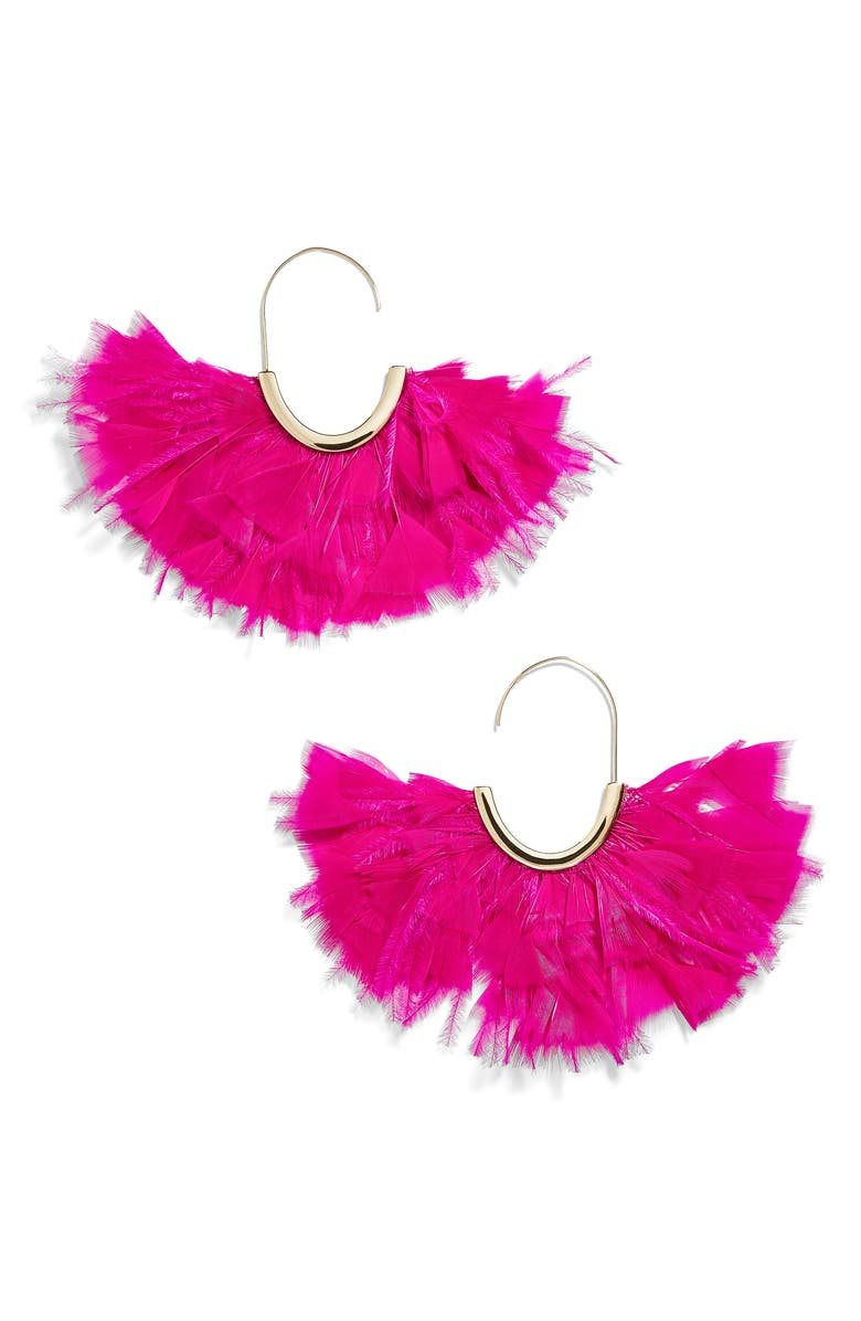 BAUBLEBAR Saffine Feather Tassel Hoop Earrings, Main, color, 650