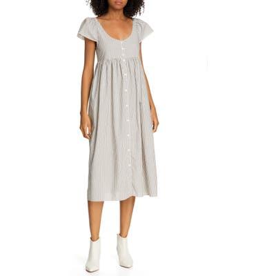 The Great. Flutter Cami Stripe Midi Dress, White