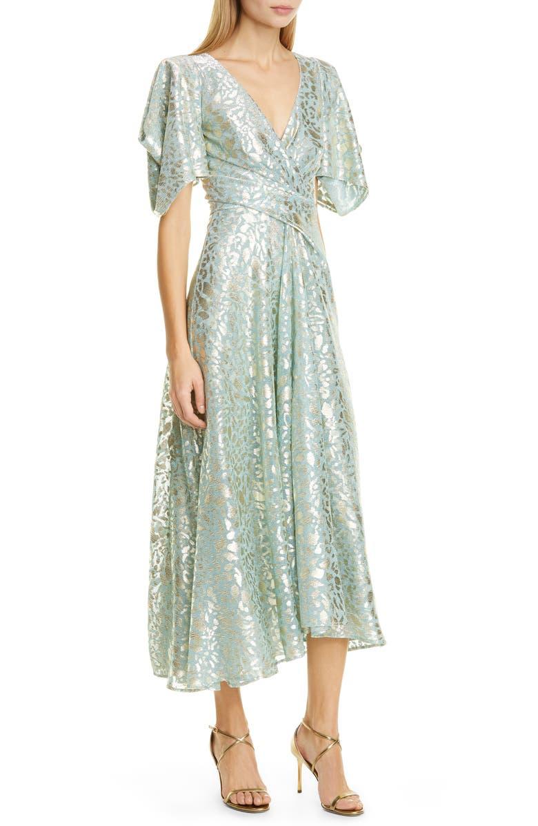 TALBOT RUNHOF Metallic Animal Spot Voile Midi Dress, Main, color, 300