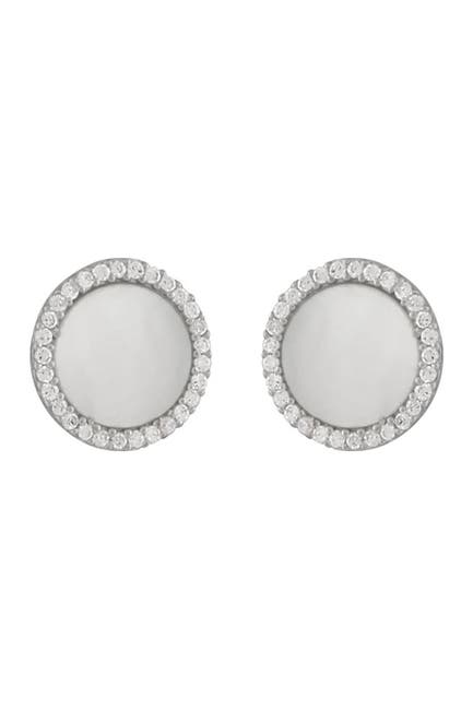 Image of Splendid Pearls Rhodium Plated Sterling Silver CZ Halo & Mother of Pearl Earrings