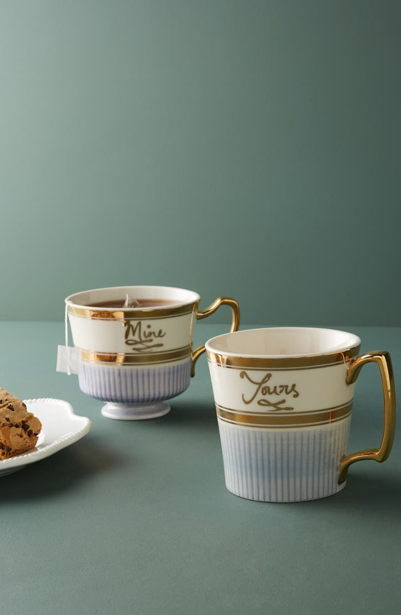 ANTHROPOLOGIE HOME Yours & Mine Set of 2 Teacups Gift Set, Main, color, MULTI
