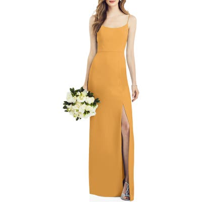 After Six Scoop Neck Crepe Gown, Yellow