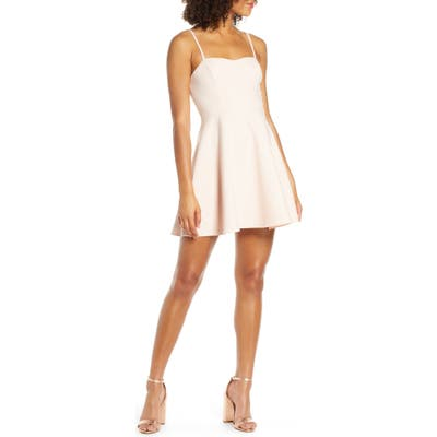 French Connection Sweetheart Neck Fit & Flare Minidress, Pink
