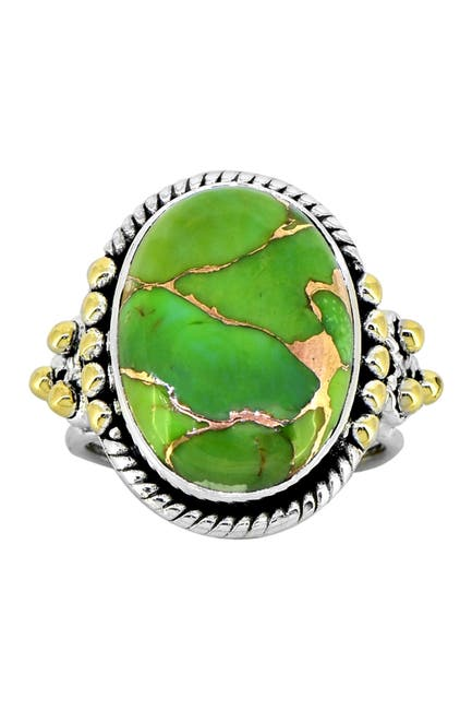 Image of Nitya Green Copper Turquoise Brass Beaded Sterling Silver Ring