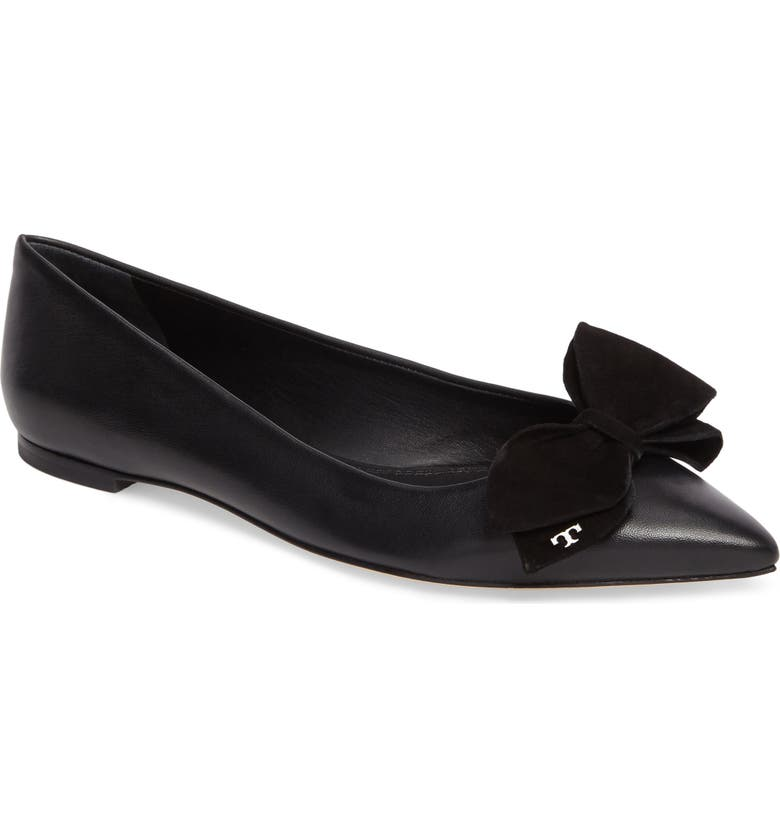 TORY BURCH Rosalind Bow Pointy Toe Flat, Main, color, 001