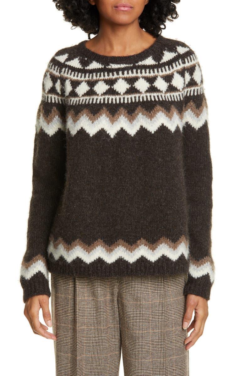 NILI LOTAN Adene Fair Isle Alpaca & Merino Wool Blend Sweater, Main, color, CHOCOLATE FAIRISLE