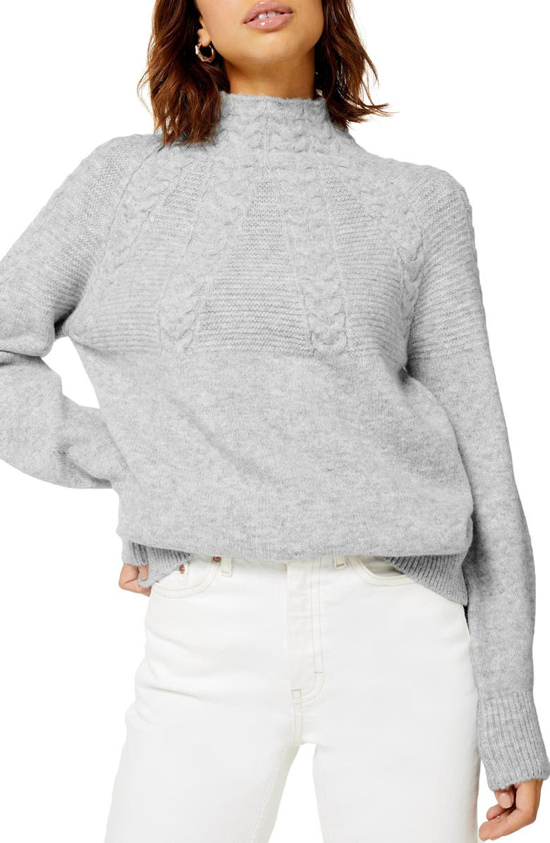 TOPSHOP Cable Knit Sweater, Main, color, GREY MARL
