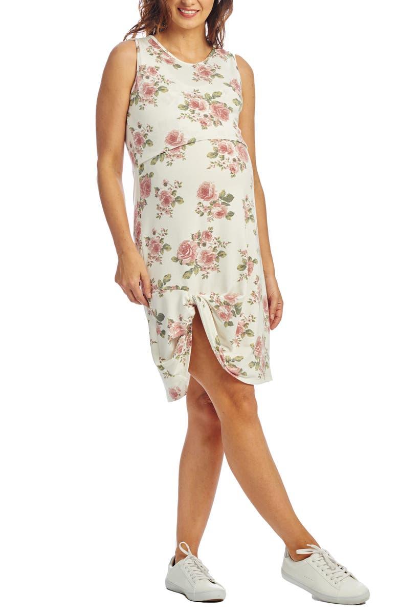 EVERLY GREY Marta Maternity/Nursing Tank Dress, Main, color, IVORY FLORAL