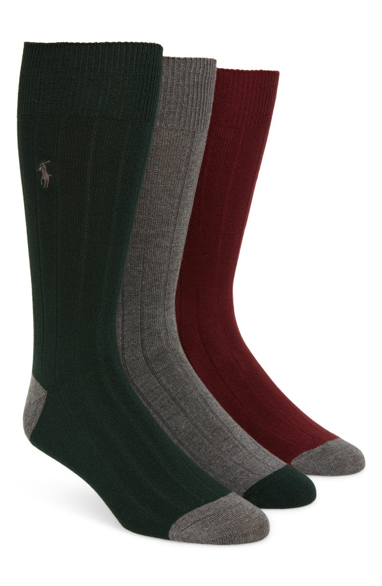 POLO RALPH LAUREN 3-Pack Ribbed Socks, Main, color, FOREST