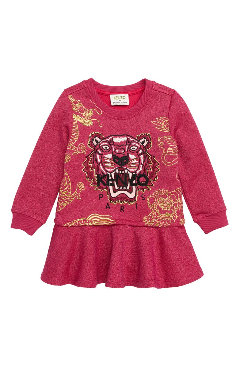 KENZO Tiger Metallic Fleece Sweatshirt Dress, Main, color, FUSCHIA