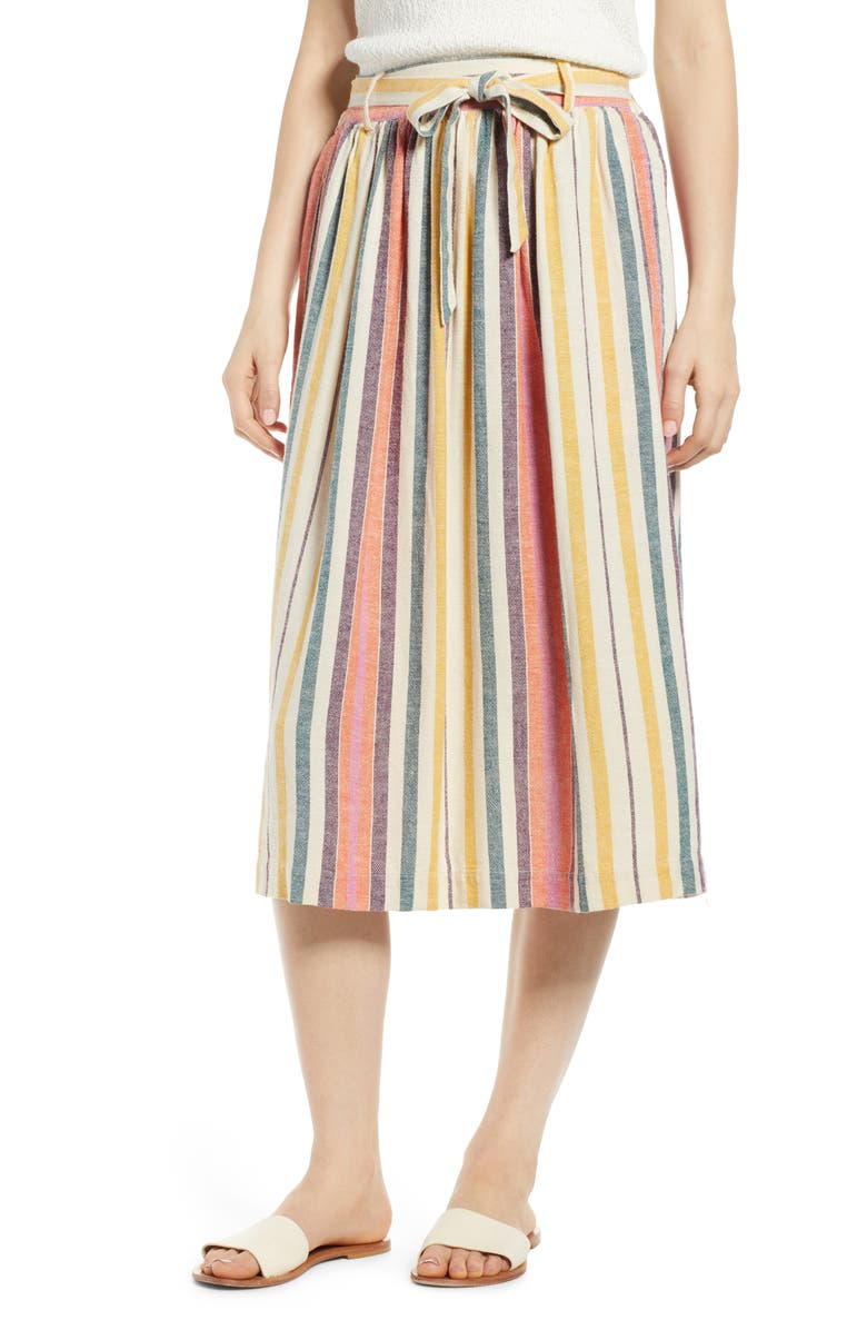 BP. Tie Belt Stripe Midi Skirt, Main, color, 900