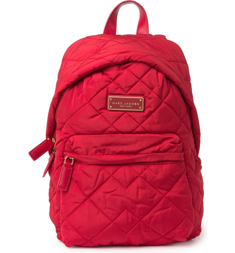 MARC JACOBS Quilted Nylon School Backpack, Main, color, CHERRY RED