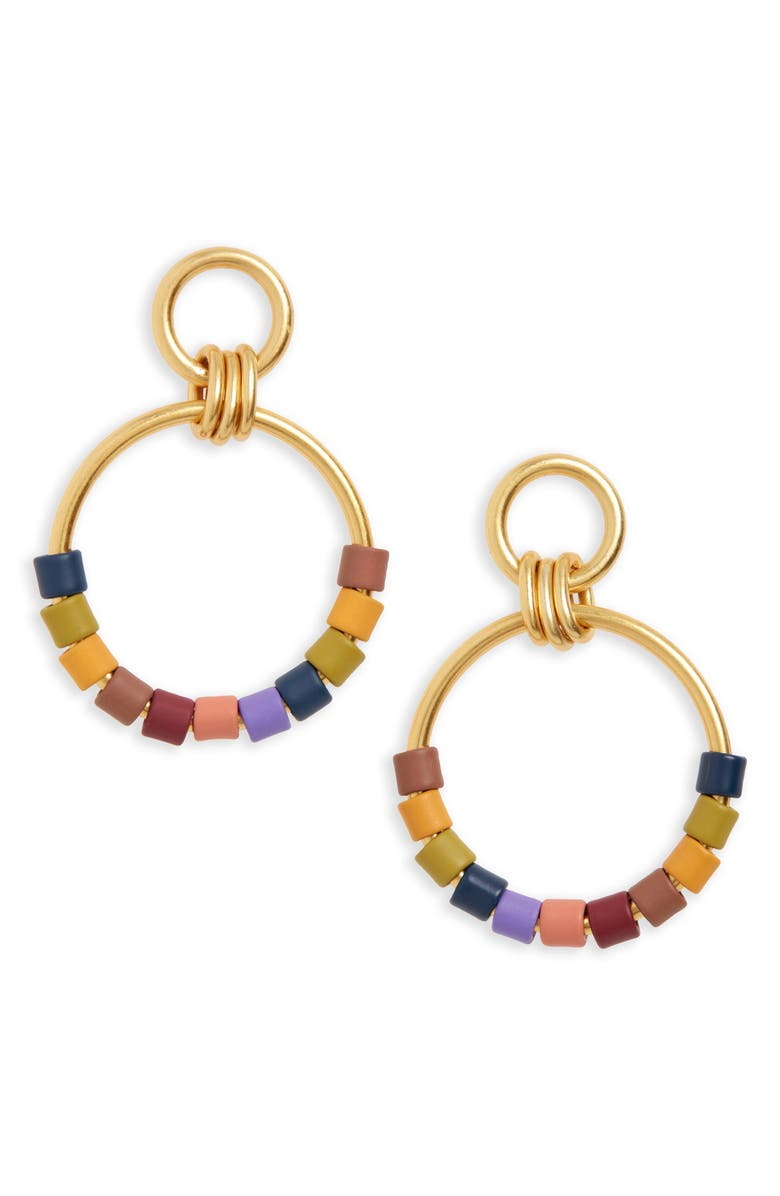 MADEWELL Rainbow Beaded Statement Hoop Earrings, Main, color, 710