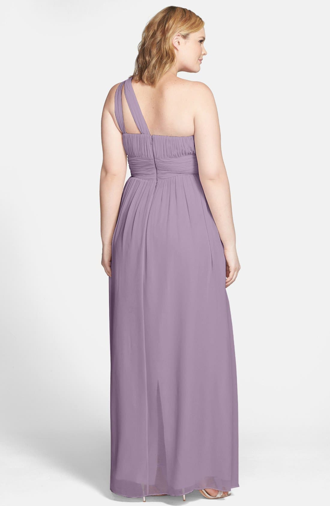 ,                             'Rachel' Ruched One-Shoulder Chiffon Gown,                             Alternate thumbnail 12, color,                             020