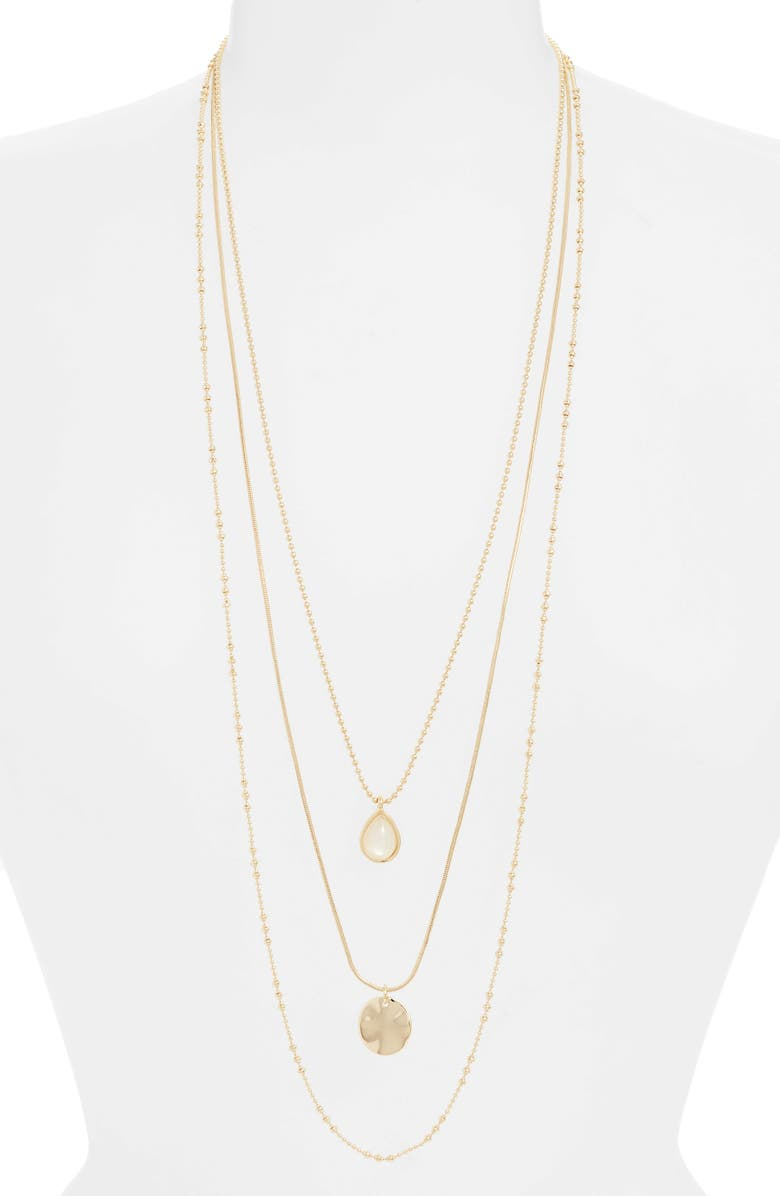 HALOGEN<SUP>®</SUP> Triple Chain Charm Necklace, Main, color, WHITE- GOLD