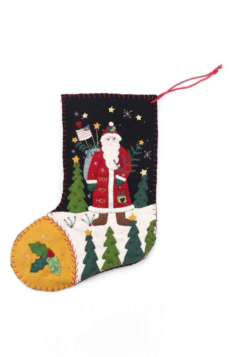 NEW WORLD ARTS Santa with Flag Stocking, Main, color, GREEN MULTI