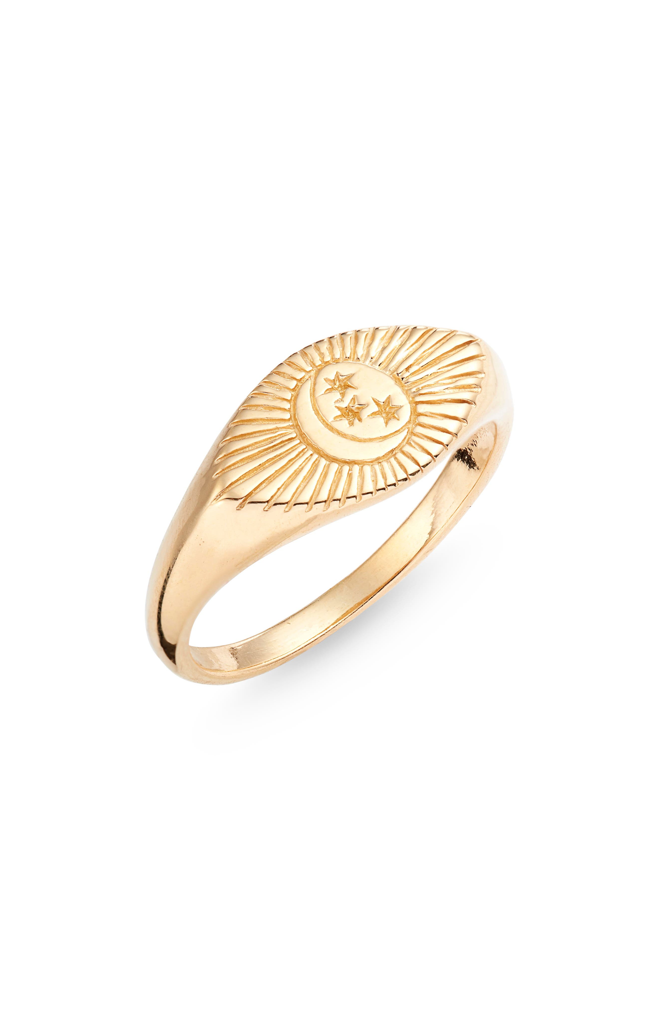 This signet ring etched in a moon-and-stars motif is inspired by the evil eye, an ancient symbol of protection. Style Name: Sterling Forever Starry Nights Eye Signet Ring. Style Number: 5904763. Available in stores.