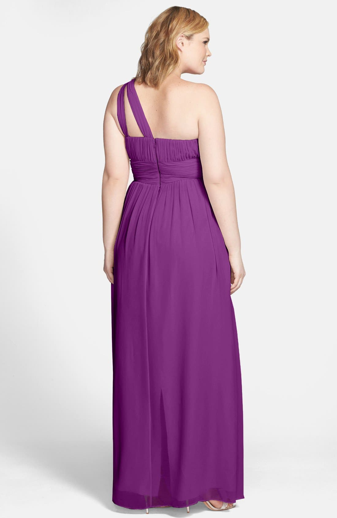 ,                             'Rachel' Ruched One-Shoulder Chiffon Gown,                             Alternate thumbnail 87, color,                             516