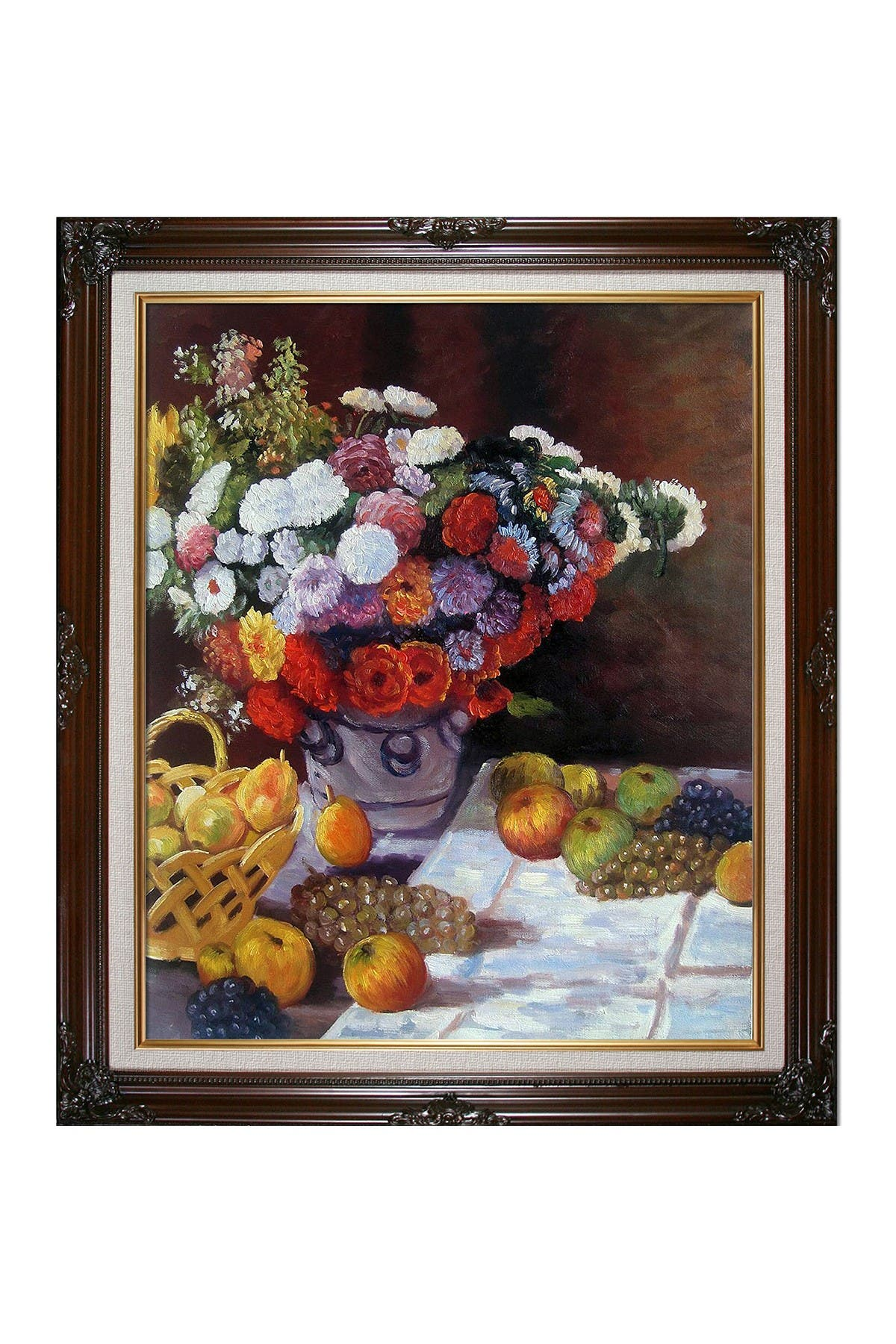 """Image of Overstock Art Flowers and Fruit with Vintage Cherry Frame - 26"""" x 30"""""""