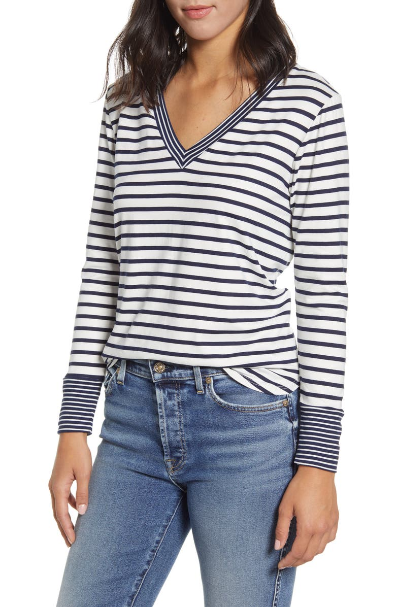 BOBEAU Stripe V-Neck Butter Top, Main, color, NAVY/ IVORY