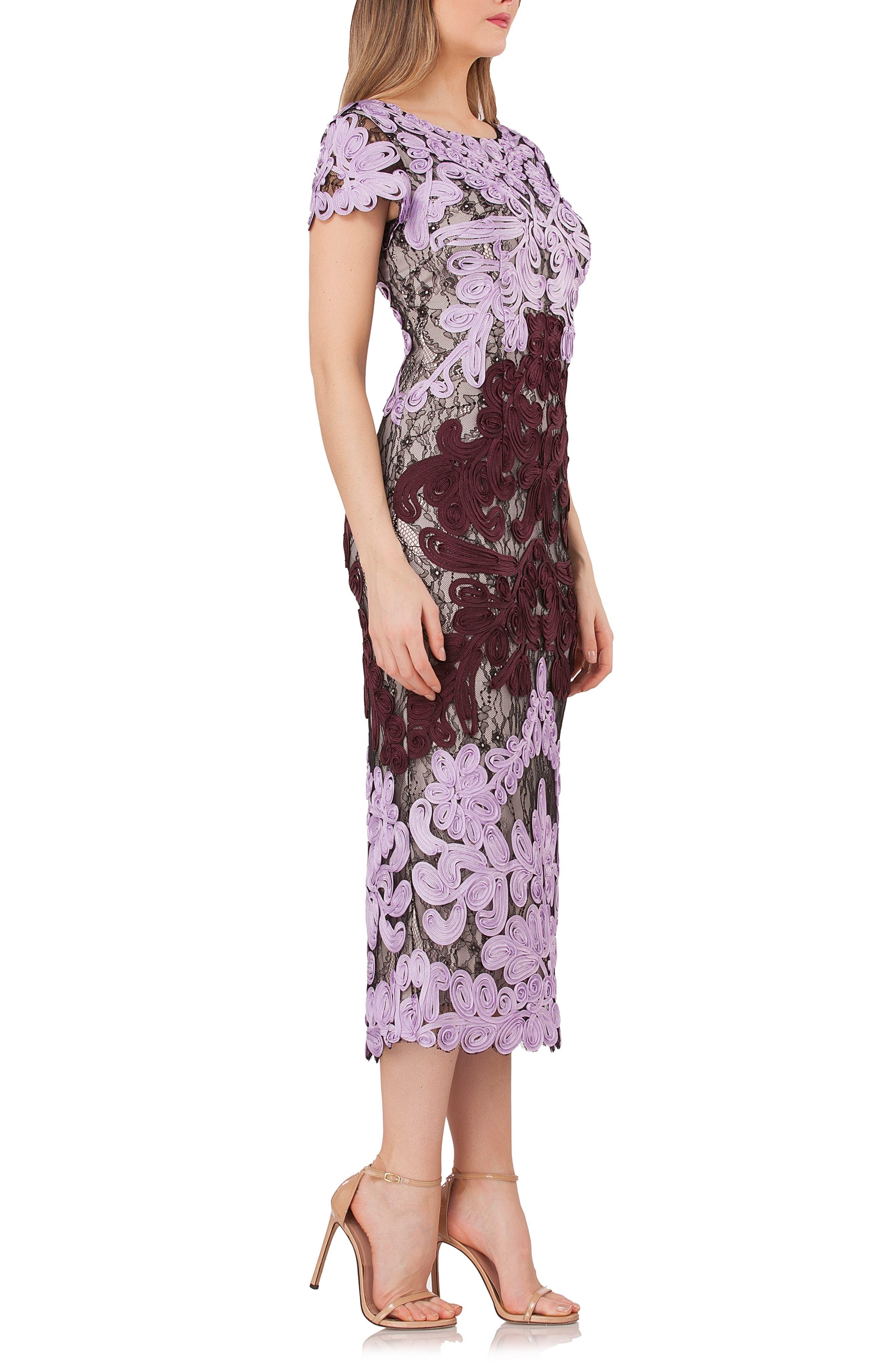 ,                             Soutache Lace Midi Dress,                             Alternate thumbnail 4, color,                             ORCHID/ CHIANTI