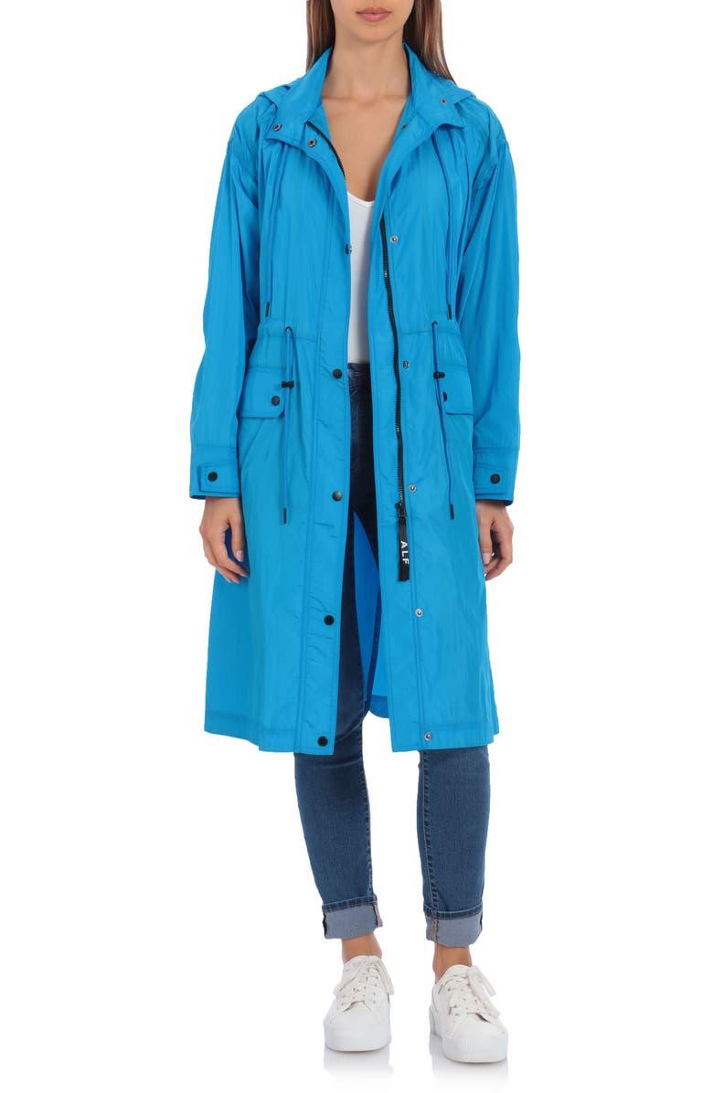 AVEC LES FILLES Water Resistant Raincoat with Removable Hood, Main, color, AQUA