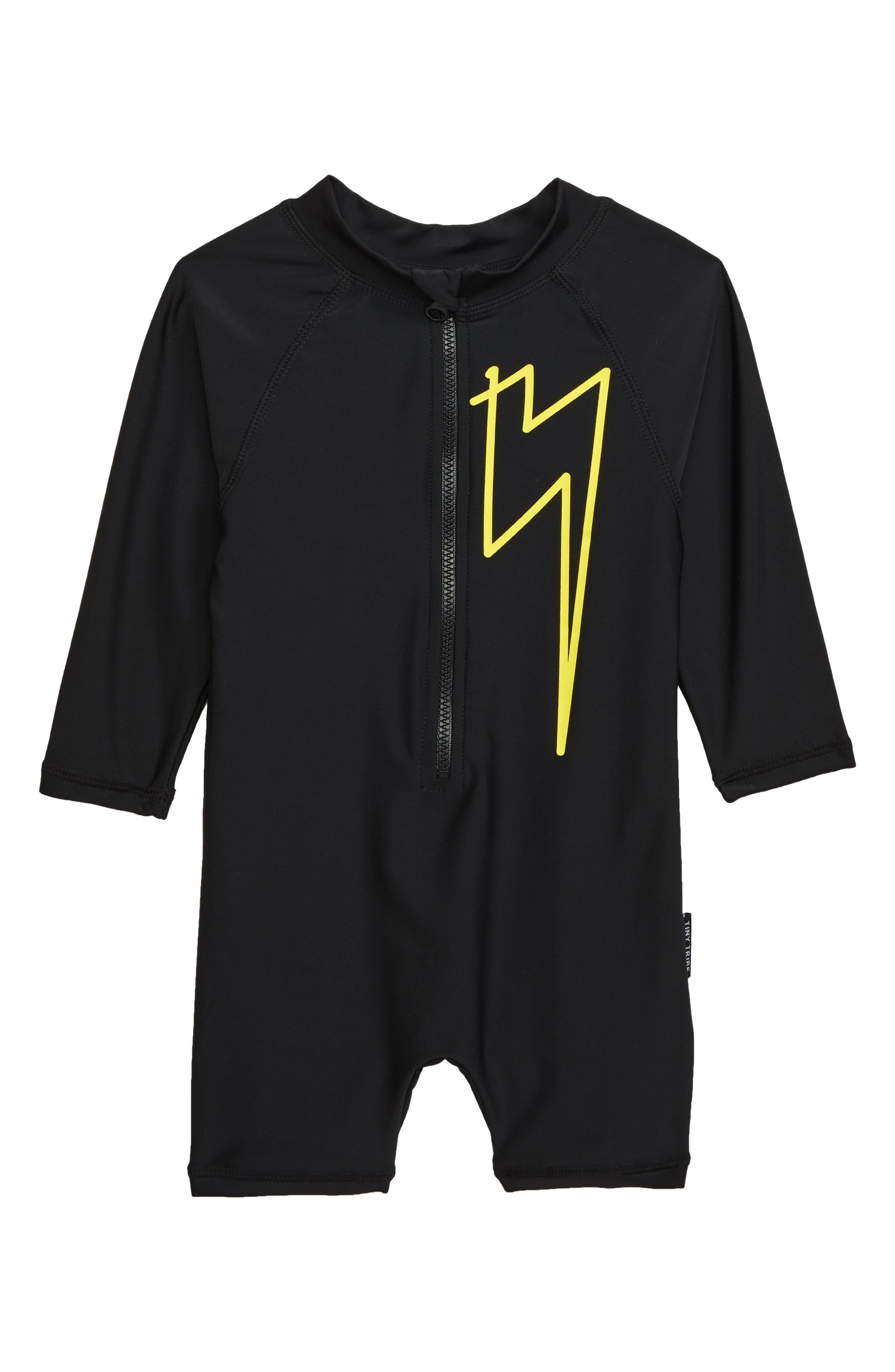 ,                             Lightning One-Piece Rashguard Swimsuit,                             Main thumbnail 1, color,                             BLACK