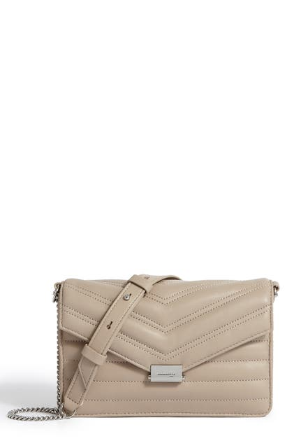 Allsaints Small Justine Quilted Leather Crossbody Bag In Sandstone