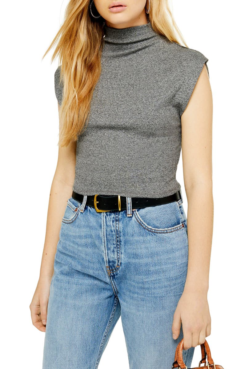 TOPSHOP Sleeveless Funnel Neck Top, Main, color, GREY