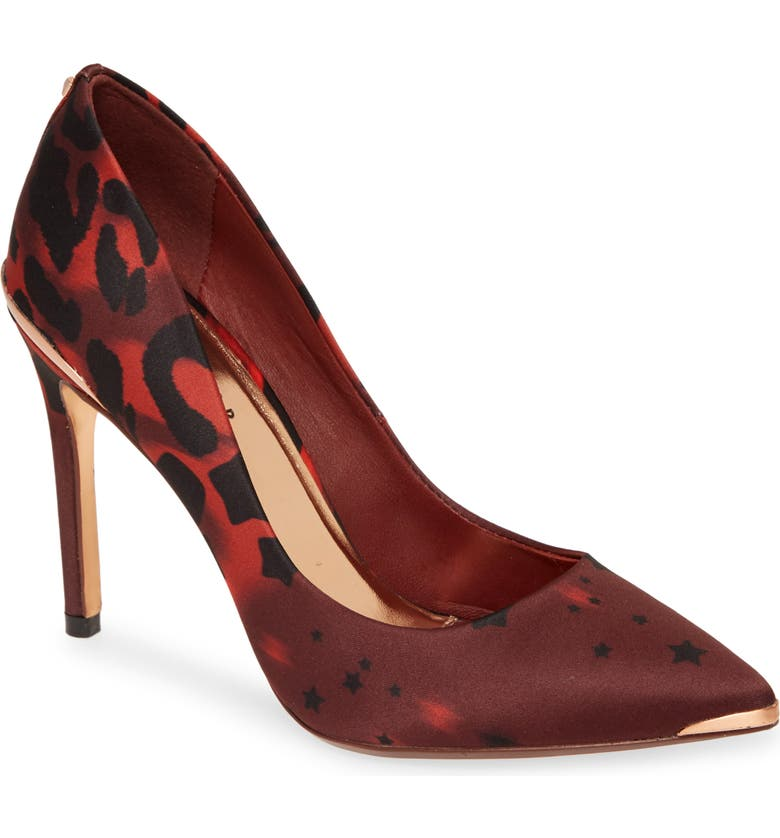 TED BAKER LONDON Iziie Pump, Main, color, RED TOPAZ PRINT SATIN