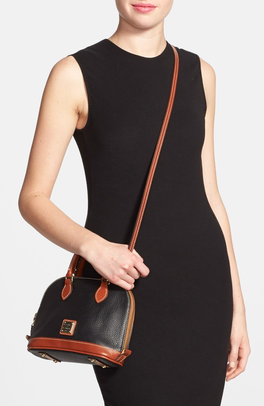 ,                             'Bitsy' Leather Crossbody Bag,                             Alternate thumbnail 6, color,                             001