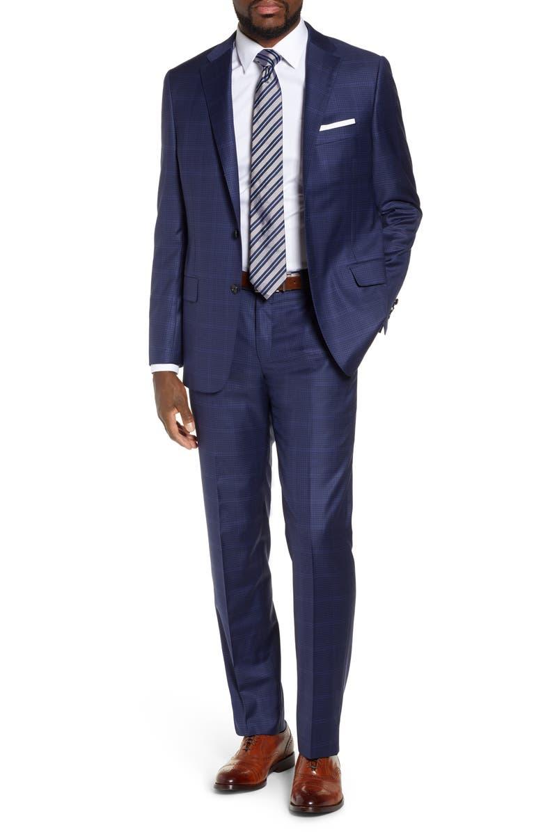 HICKEY FREEMAN Classic B Fit Plaid Wool Suit, Main, color, DARK BLUE