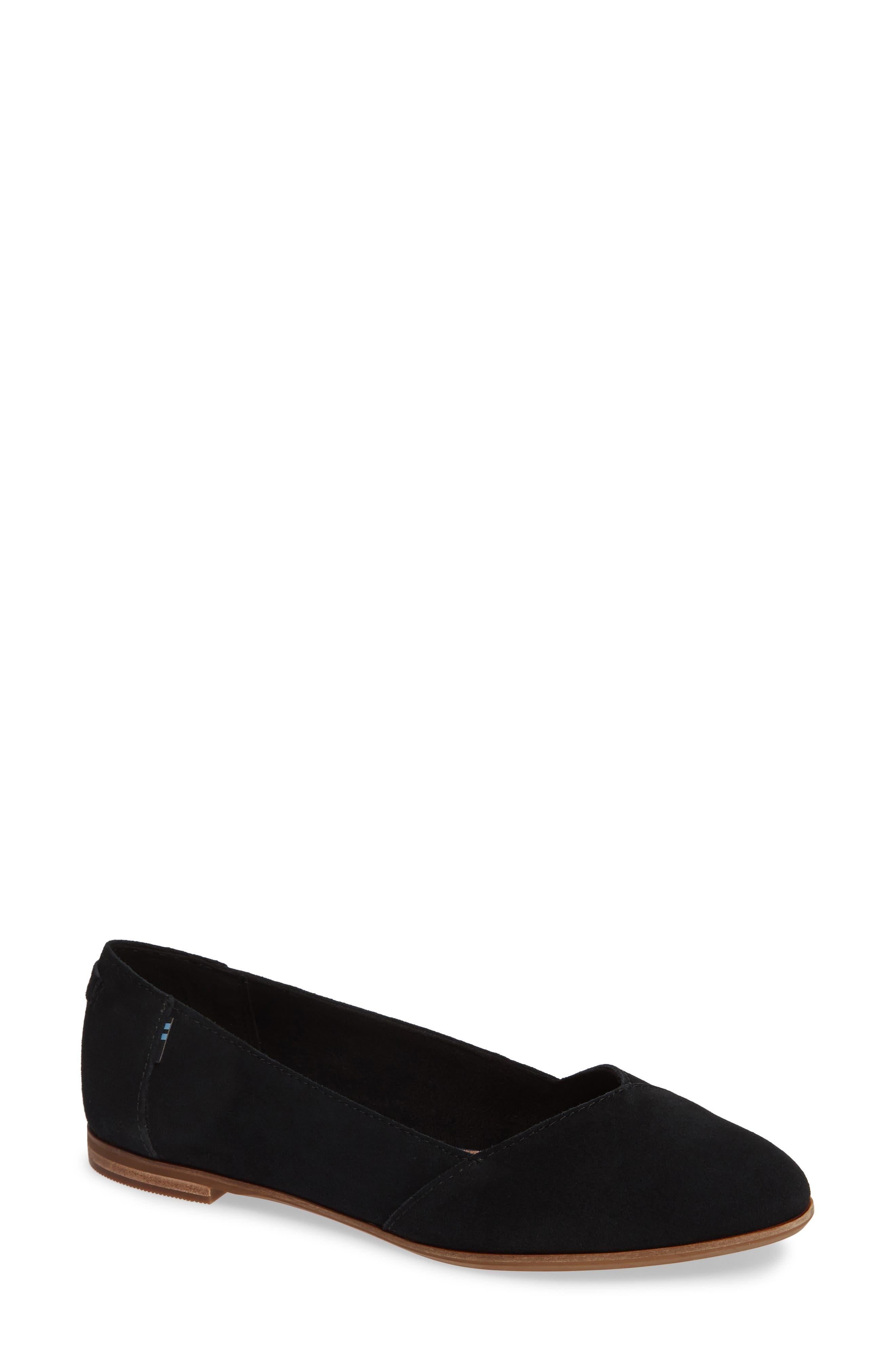 Toms Julie Almond Toe Flat B - Black