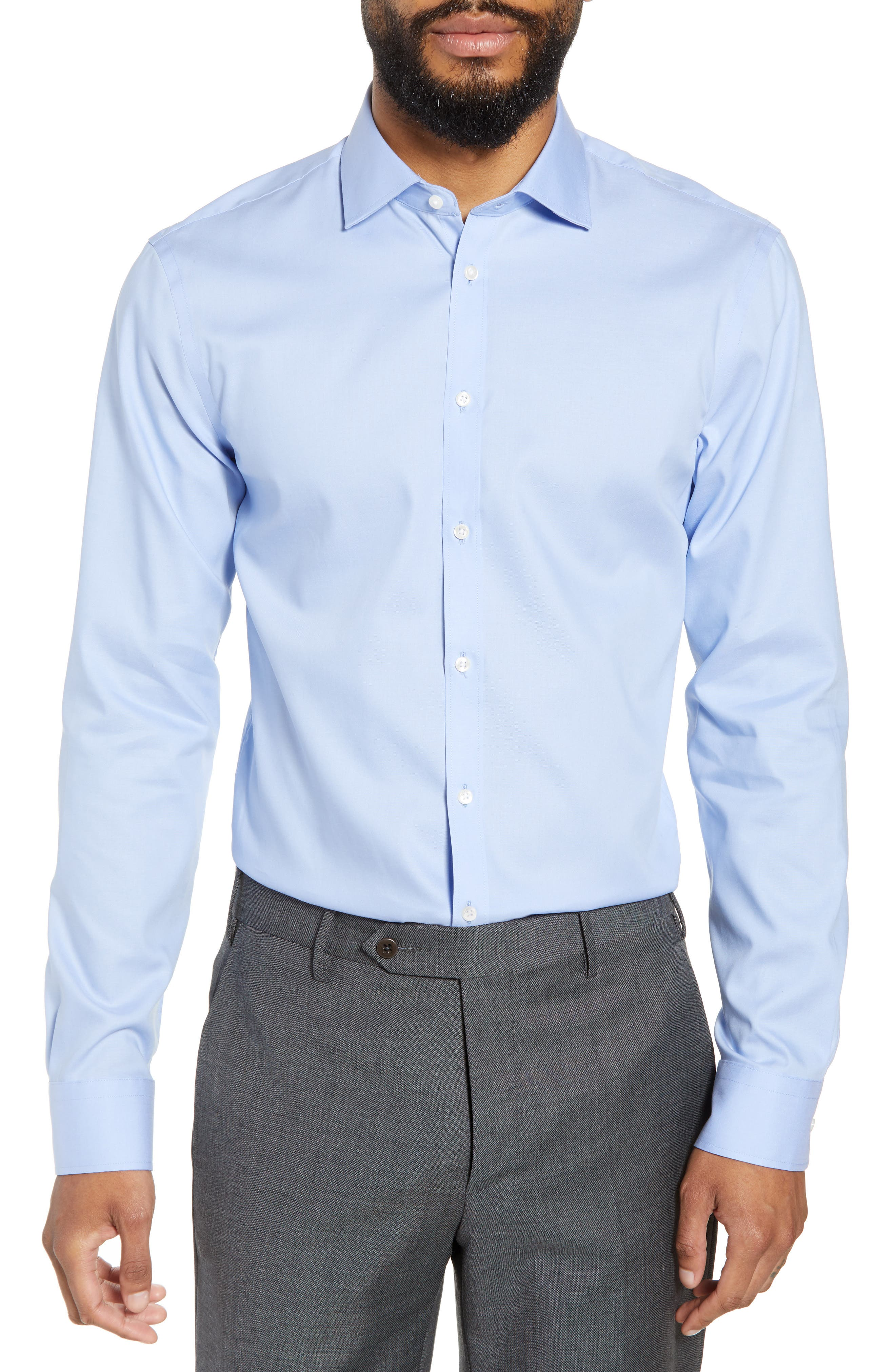 ,                             Extra Trim Fit Non-Iron Solid Dress Shirt,                             Main thumbnail 56, color,                             450