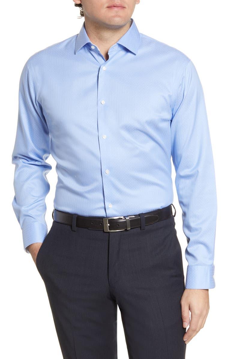 NORDSTROM MEN'S SHOP Trim Fit Non-Iron Dot Dress Shirt, Main, color, BLUE DOBBY HERRINGBONE