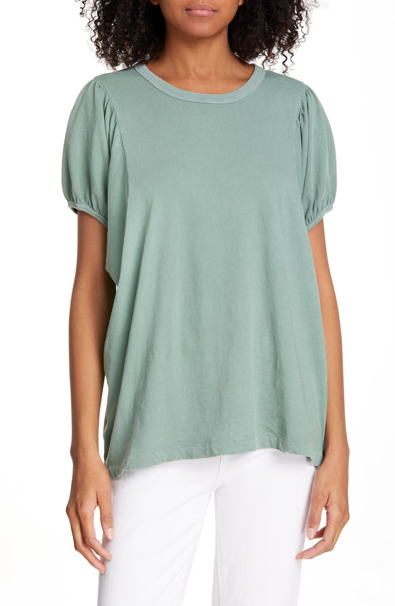 THE GREAT. The Puff Sleeve Tee, Main, color, BASIL