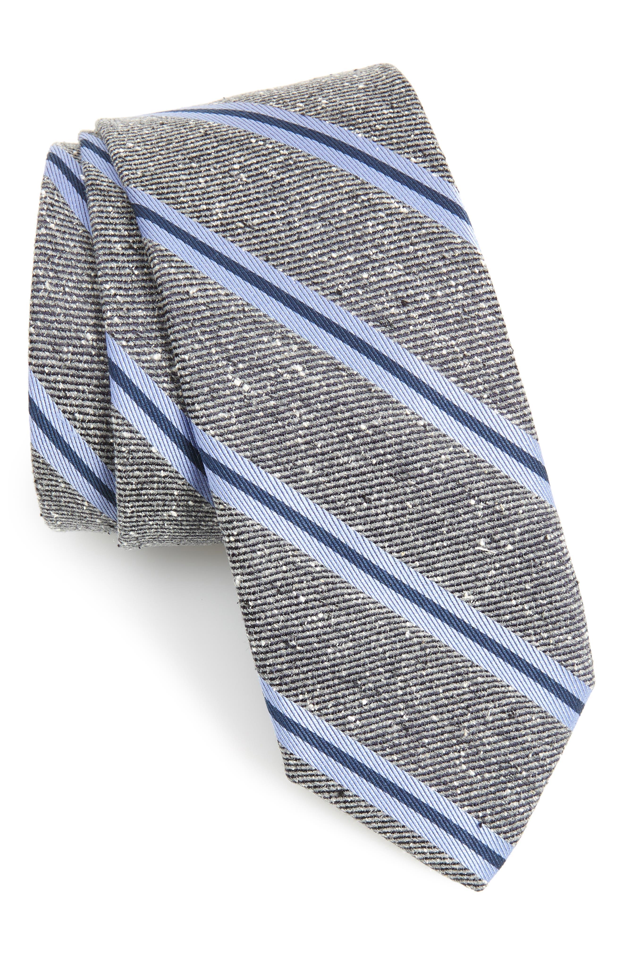Owen Stripe Silk Tie, Main, color, CHARCOAL