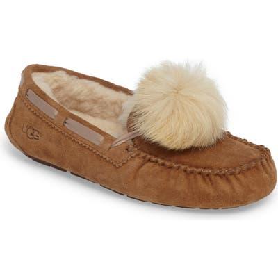 UGG Dakota Genuine Shearling Pompom Slipper, Brown