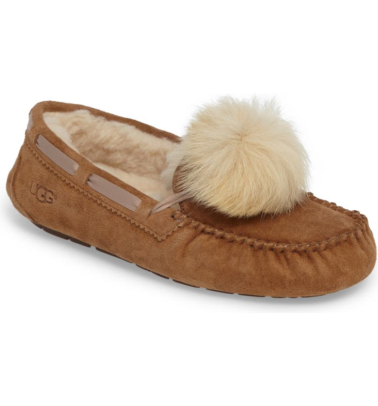 UGG<SUP>®</SUP> Dakota Genuine Shearling Pompom Slipper, Main, color, CHESTNUT SUEDE