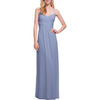 #levkoff Surplice Neck Chiffon Gown, Grey