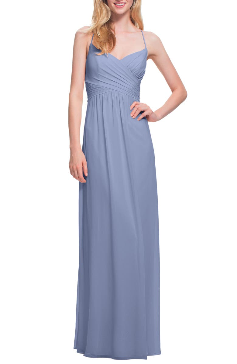 #LEVKOFF Surplice Neck Chiffon Gown, Main, color, 025