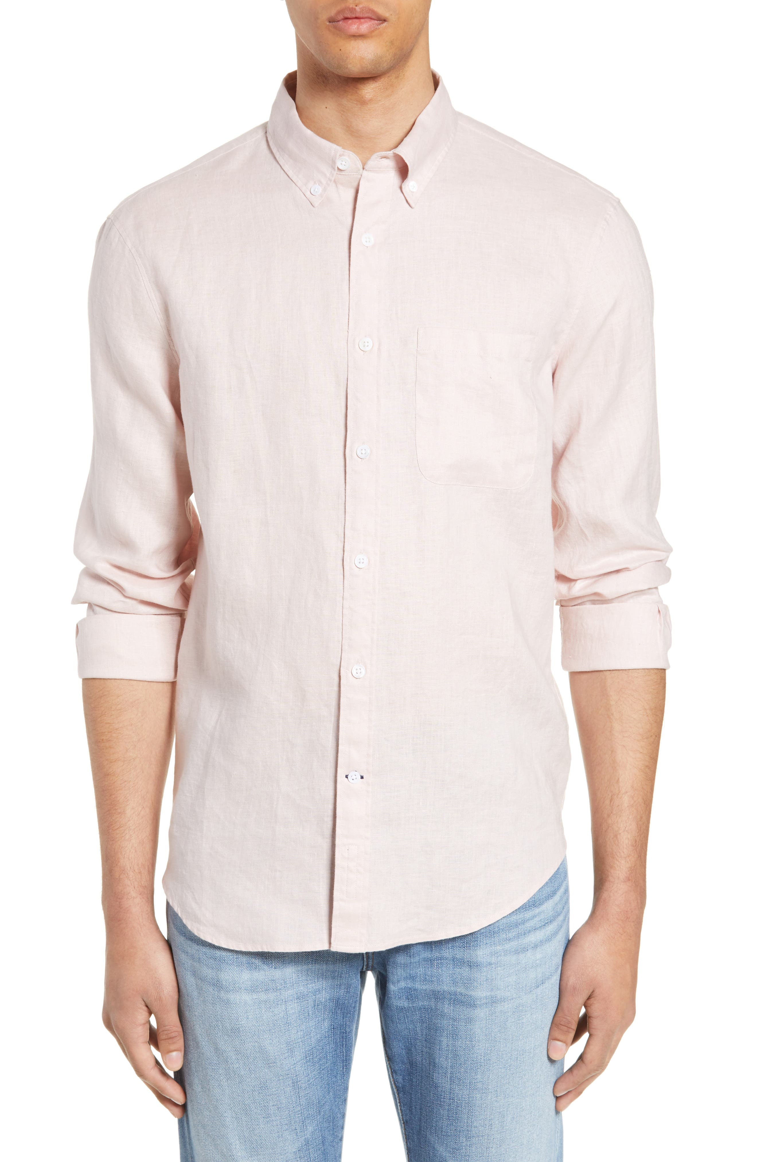 ,                             Solid Linen Slim Fit Sport Shirt,                             Main thumbnail 1, color,                             PINK
