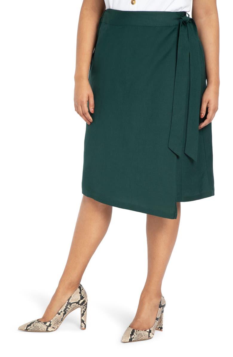 ELOQUII Wrap Skirt, Main, color, 300