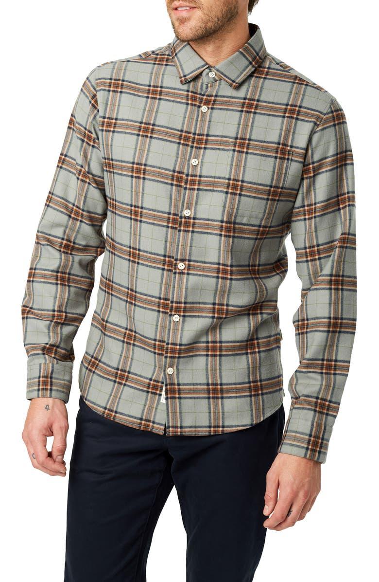 7 DIAMONDS Hunter Slim Fit Plaid Button-Up Shirt, Main, color, GREY/ RUST