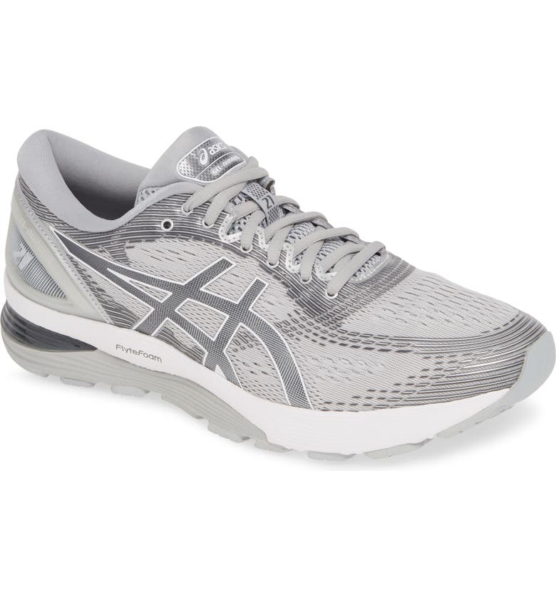 ASICS<SUP>®</SUP> GEL-Nimbus 21 Running Shoe, Main, color, MID GREY/ SILVER
