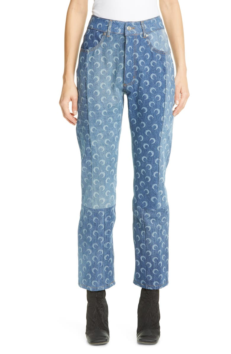 MARINE SERRE Moon Print Denim Pants, Main, color, 401